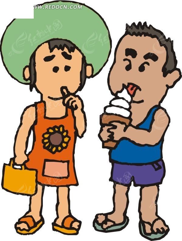 儿童吃冰淇淋