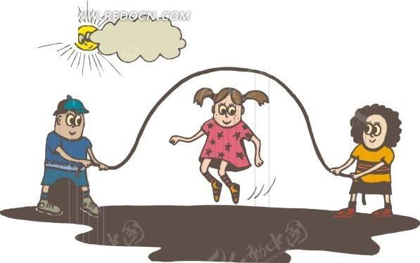 跳绳游戏的小朋友; 跳绳游戏的小朋友-日常生活矢量图下载(编号:; 玩