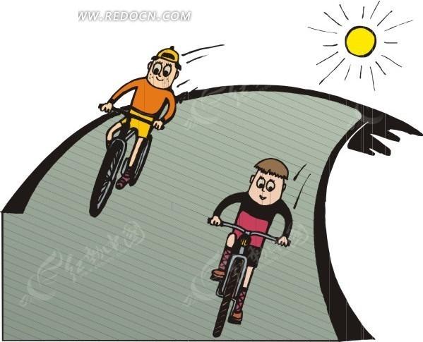 骑自行车的卡通人物矢量图EPS免费下载 日常生活素材图片