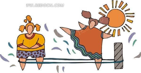 跳绳  女孩   卡通人物  手绘  插画  卡通画   生活百科 生活图片