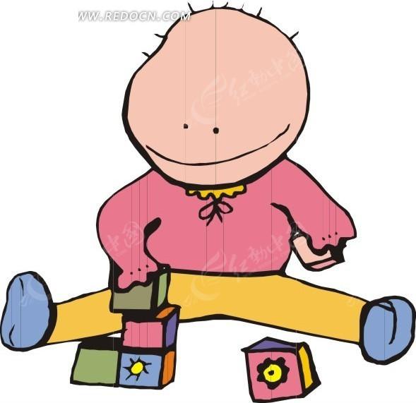小孩玩积木矢量图_日常生活