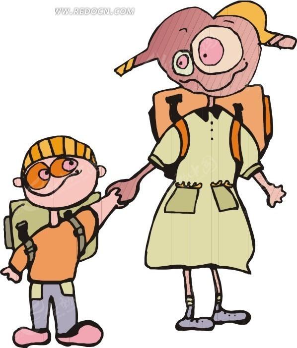 背着书包的卡通小孩矢量图