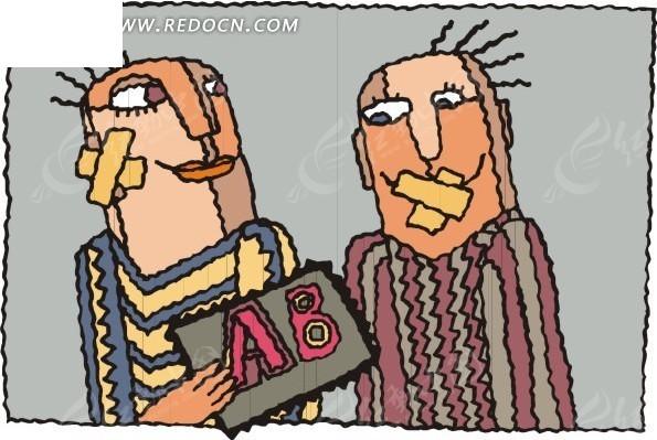 卡通人物耳朵和嘴巴贴着胶带