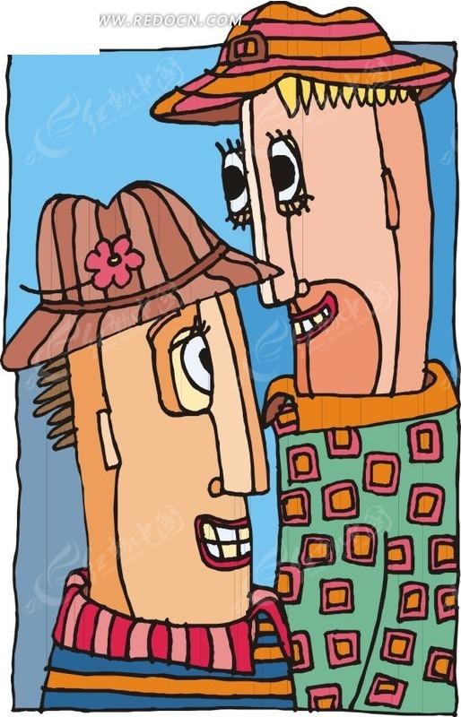 卡通老年夫妻