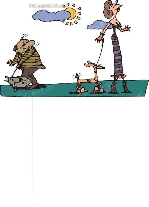 遛狗的卡通男女