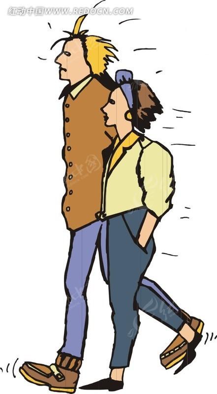 男女并肩行走的卡通人物