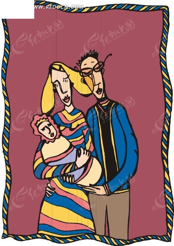 抱着小孩的妈妈和爸爸