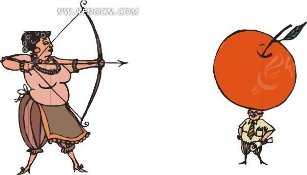 卡通插画手绘苹果