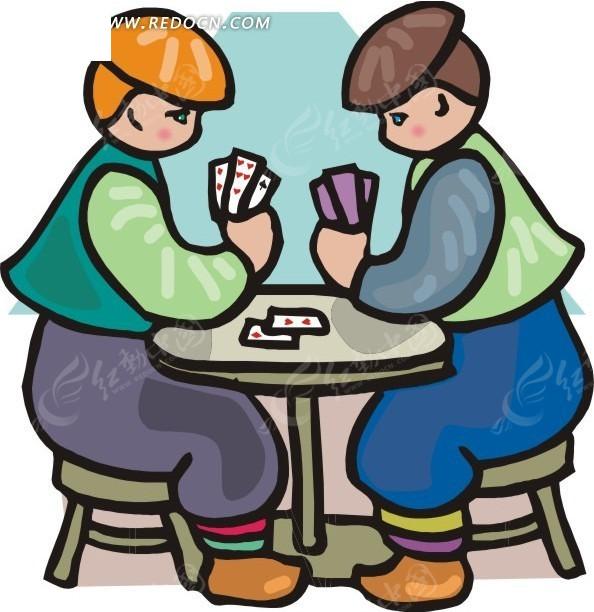 两个玩扑克牌的卡通人物