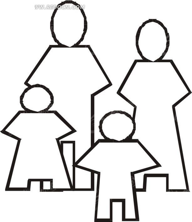 一家四口人物剪影 日常生活矢量图下载 1746525