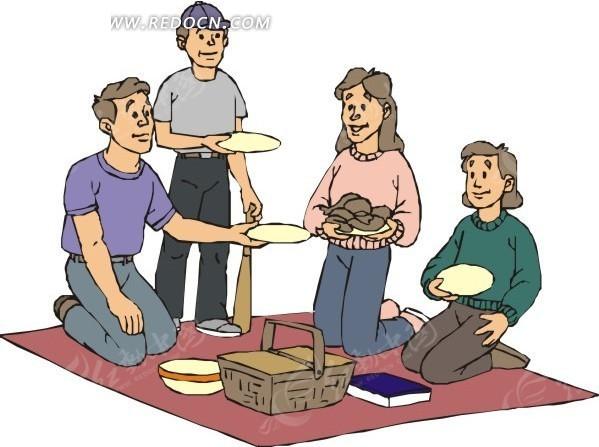 一家人野炊吃饭卡通插画