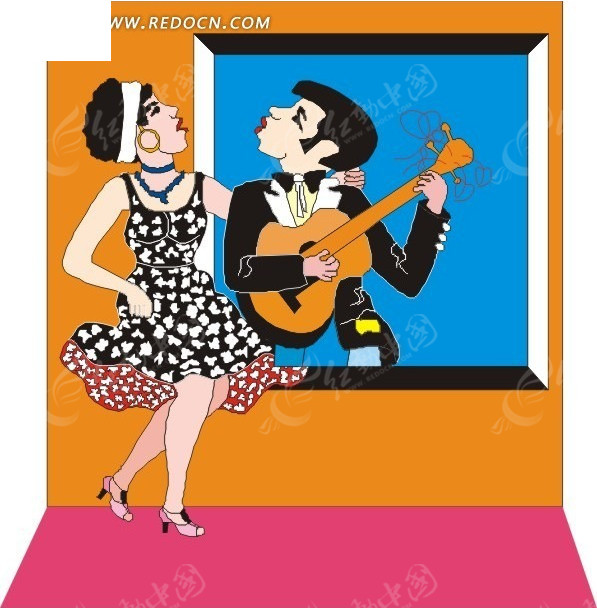 免费素材 矢量素材 矢量人物 日常生活 弹吉他的女人和穿小碎花裙子的
