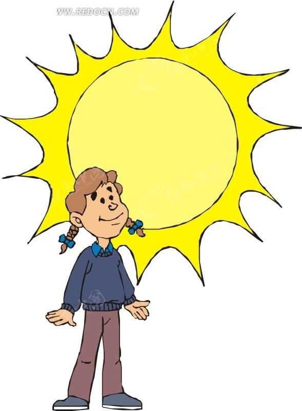 阳光下的女孩卡通画