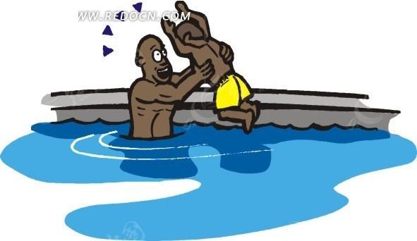 爸爸教小孩游泳插画