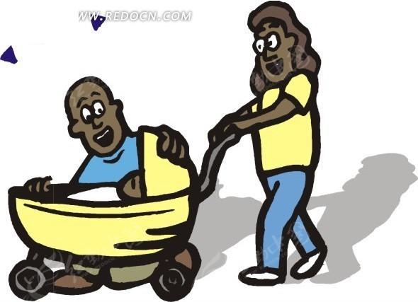 爸爸妈妈推着婴儿车插画