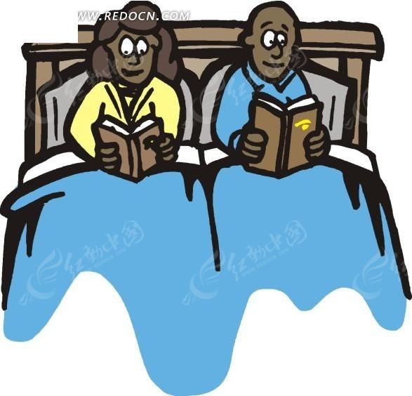 在床上看书的夫妻插画