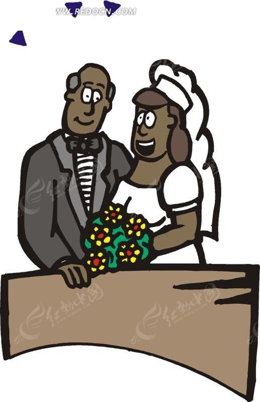 新郎新娘插画图片