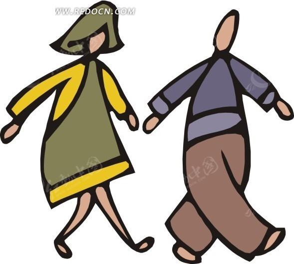 免费素材 矢量素材 矢量人物 日常生活 行走的两位卡通人物  请您分享
