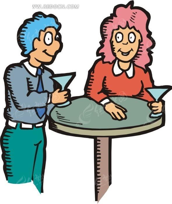 桌子前喝饮料的卡通人物