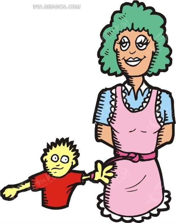 卡通美女和小孩矢量图