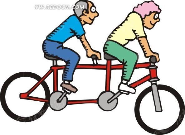 骑双人自行车的卡通人物矢量图EPS免费下载 日常生活素材图片