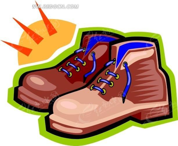 一双手绘鞋子插画