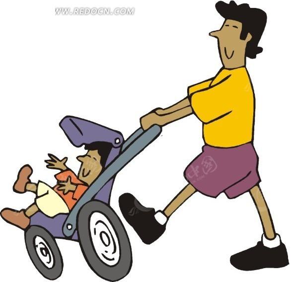 推着婴儿车的卡通人物