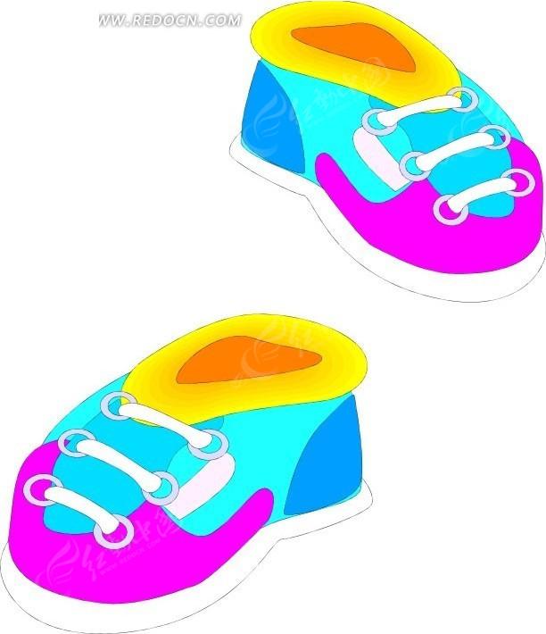 一双儿童鞋子插画