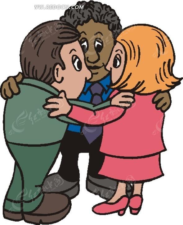 抱在一起商量事情的卡通人物