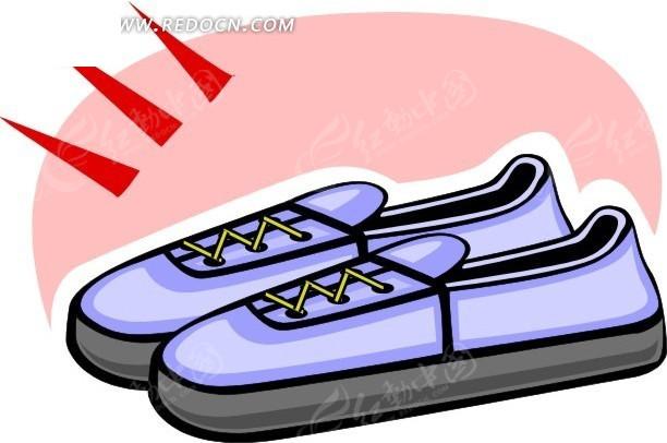 一双平底鞋手绘插画矢量图_生活用品