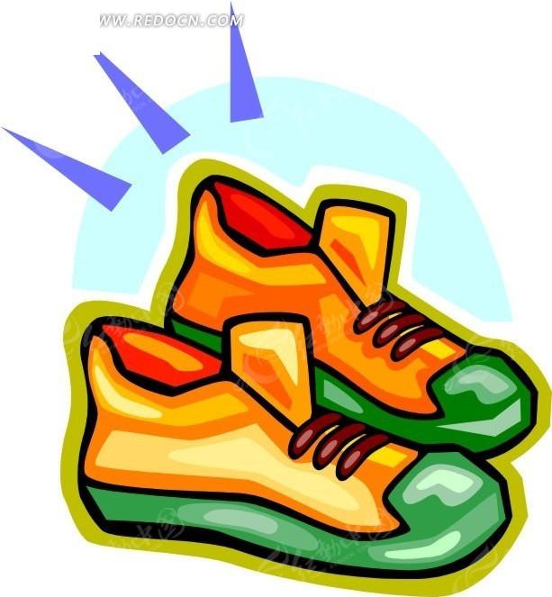 一双手绘鞋子矢量插画矢量图