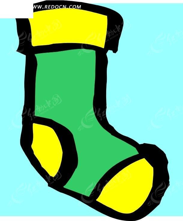 黄绿袜子手绘插画矢量