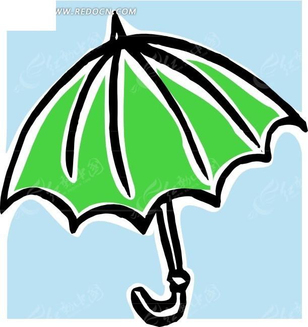 手绘绿色雨伞