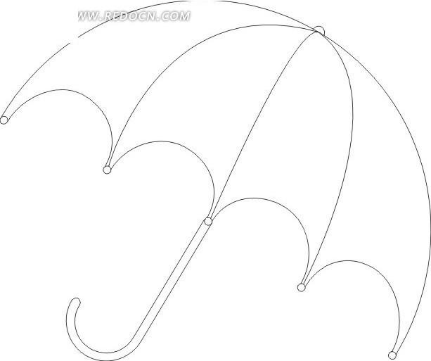 矢量矢量素材插画卡通; 线描雨伞矢量图_生活用品; 线描雨伞设计图片