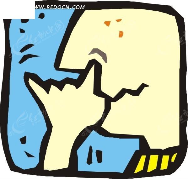 免费素材 矢量素材 矢量人物 日常生活 手绘挖鼻孔的人