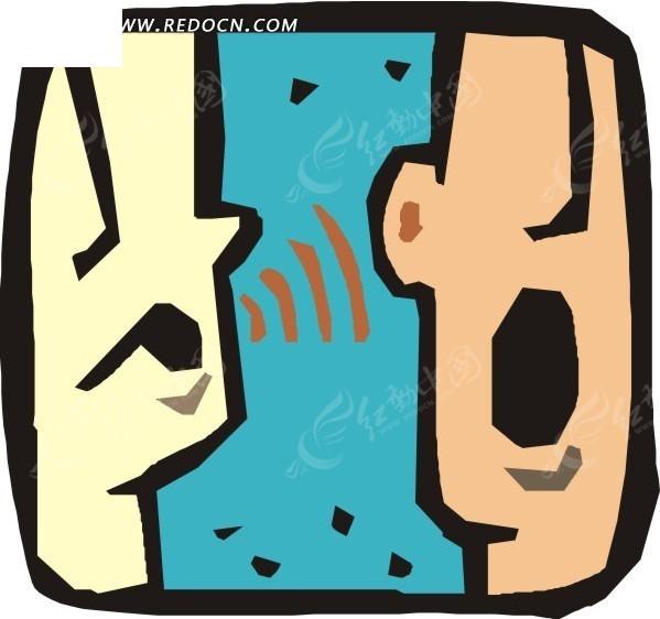 手绘两个说话的人矢量图免费下载