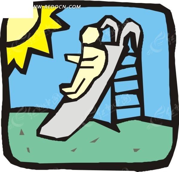 手绘玩滑梯的人矢量图_日常生活