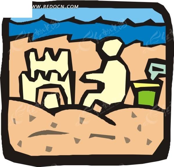 手绘沙滩玩耍的孩子