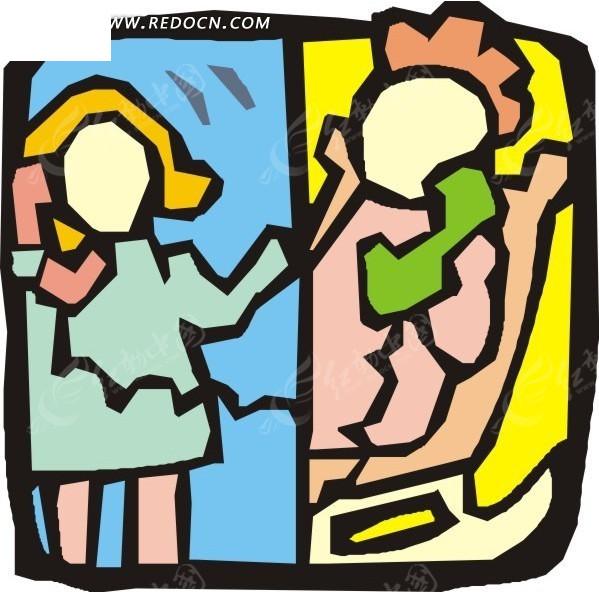 手绘两个打电话的女人矢量图eps免费下载_日常生活素材