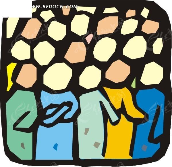 手绘拥挤的人群矢量图_日常生活