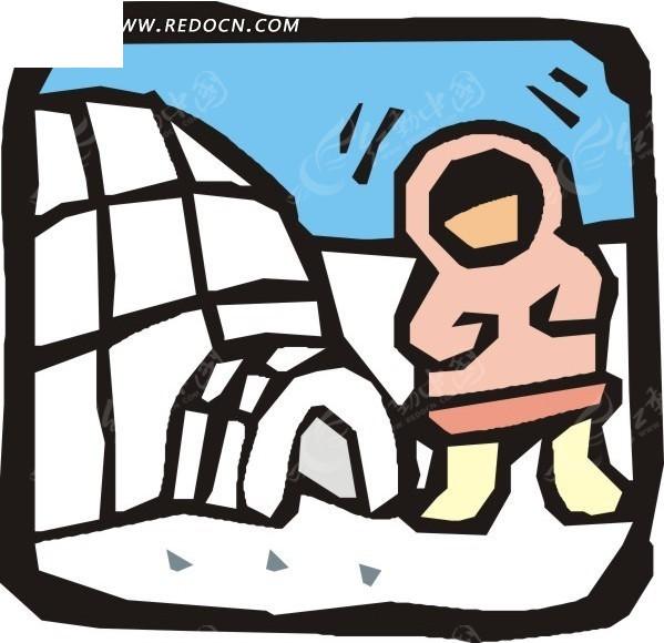 手绘冰屋外的人