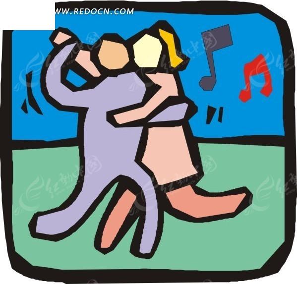 手绘牵着手跳舞的男女矢量图