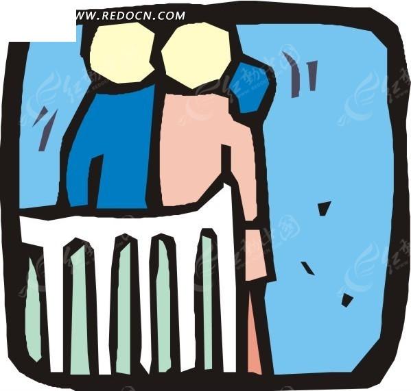 手绘搂在一起的情侣矢量图_日常生活