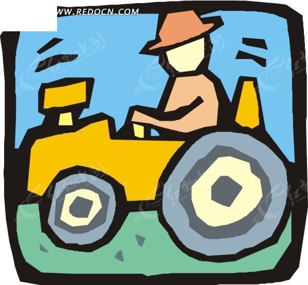 手绘开拖拉机的人
