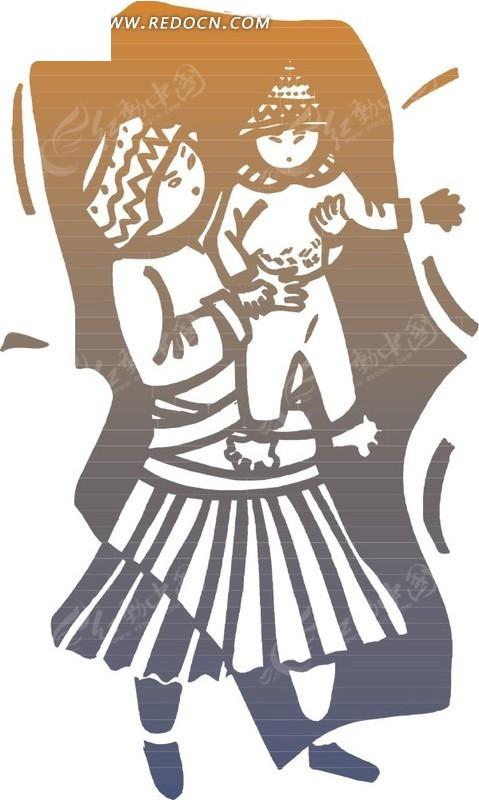 手绘抱着小孩的少数民族女人