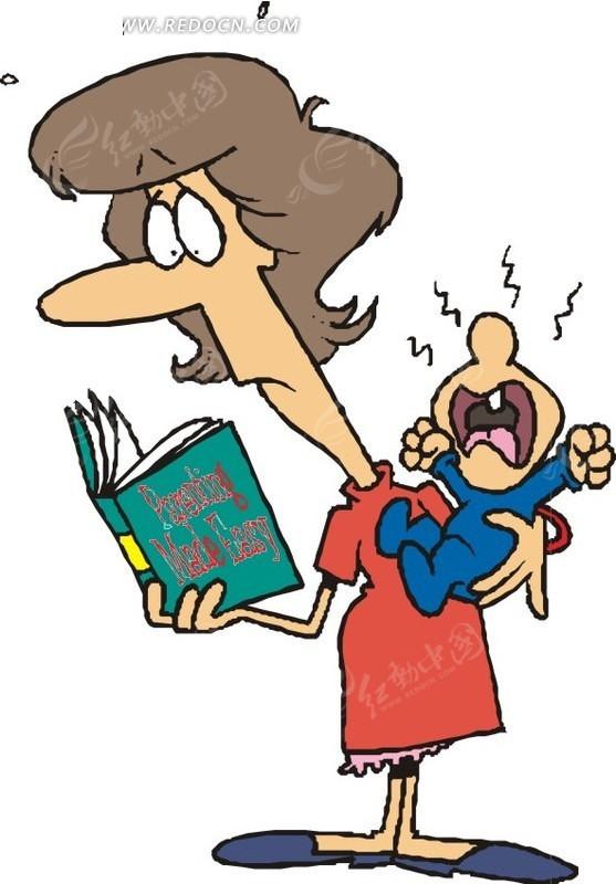 抱娃看书的女人