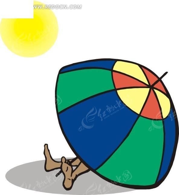 太阳伞下的人