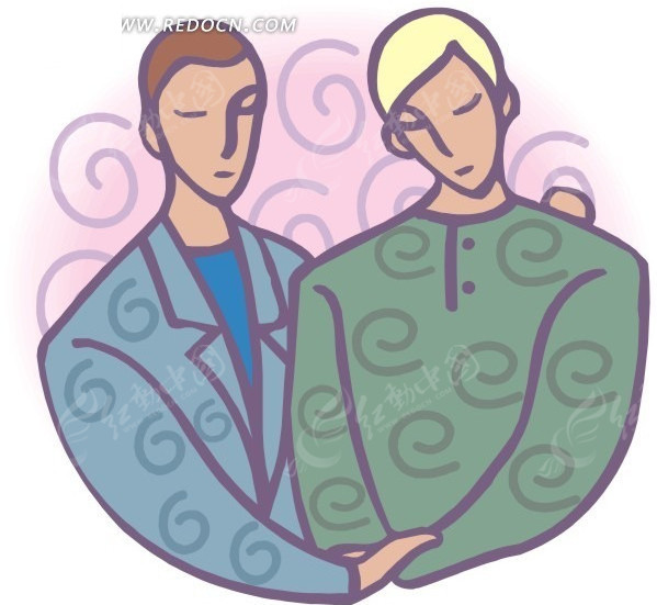 手绘靠在一起的同性情侣图片