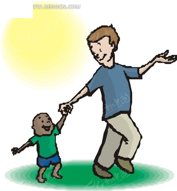 小朋友手牵手简笔画; 牵手散步