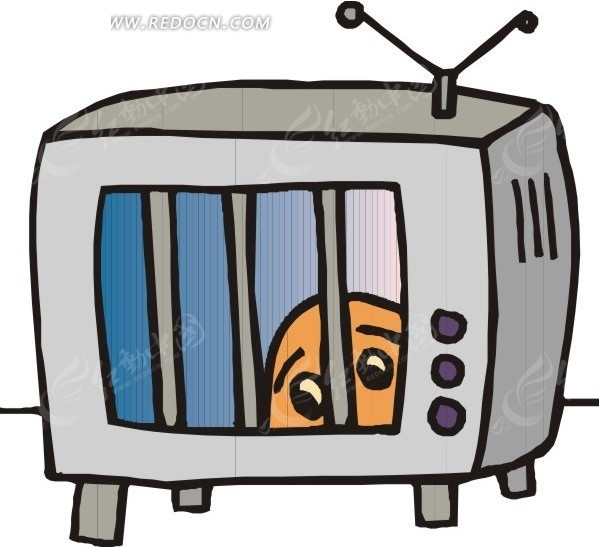 手绘电视机_卡通形象_红动手机版